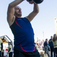 Paul swinging a 40lb kettlebell