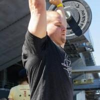Steve pressing a 75lb bar