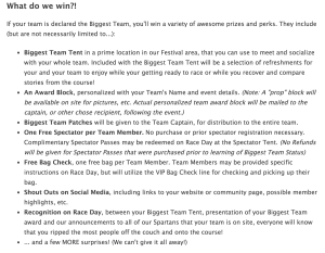 Spartan Biggest Team Perks, as of Jan 2015