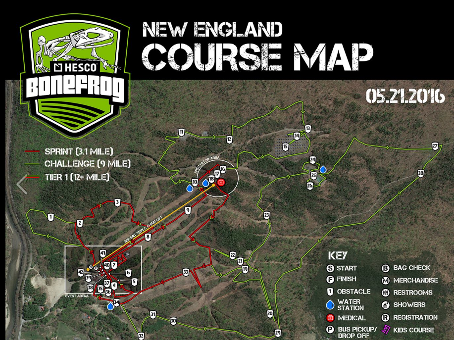 Bone Frog 2016 New England Course Map